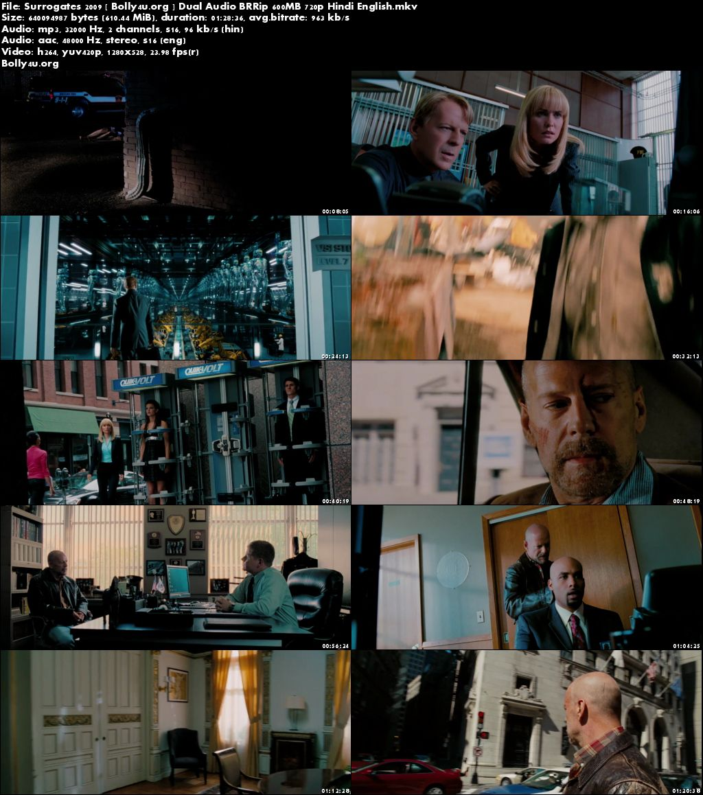 Surrogates 2009 BRRip 600Mb Hindi Dubbed Dual Audio 720p Download