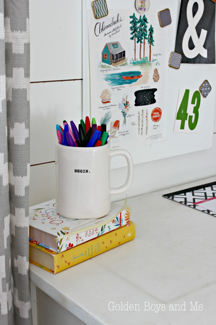 Begin mug on console table used as a desk - www.goldenboysandme.com