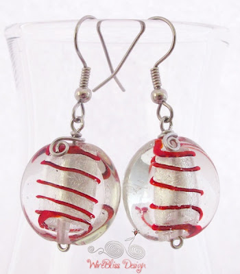 Large glass dangle earrings by WireBliss - red