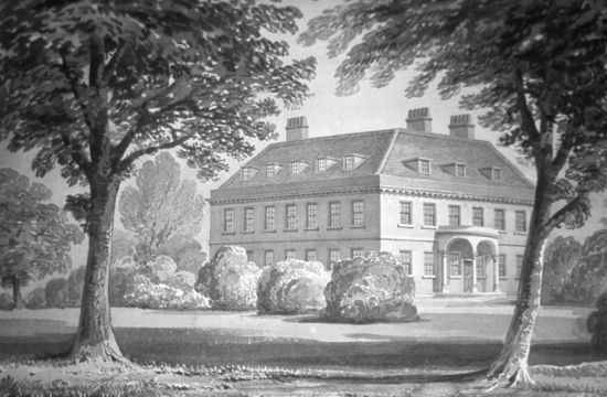 Scan of a drawing of Brookmans House by Clutterbuck. Image courtesy of Hertfordshire County Records Office (HCRO)