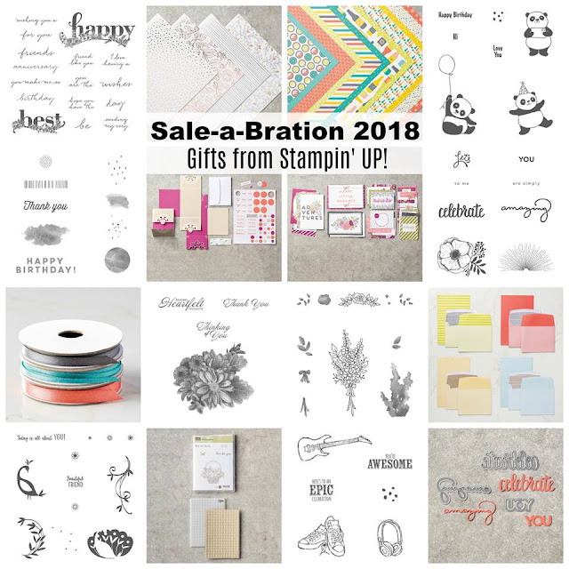 What a fantastic range of products to choose from. Get one of these FREE with every $90 in an order. Don't miss out and order today - https://www3.stampinup.com/ECWeb/category/300010/sale-a-bration?dbwsdemoid=4008228