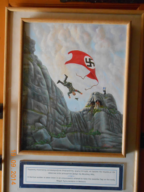 Painting of Meteora Monasteries from World War 2 picturing falling Nazi soldier
