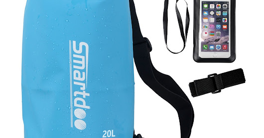 Smartdoo Waterproof Dry Bag w/ Shoulder Strap 10L & Bonus Free Waterproof Phone Case w/ Armstrap