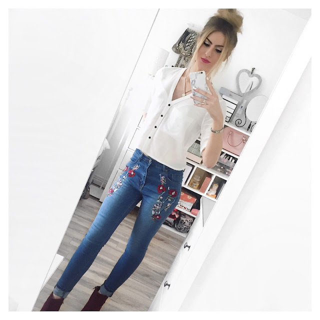 topshop dupe embroidered jeans pretty little thing