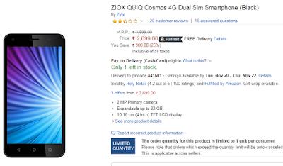 ZIOX QUIQ Cosmos 4G Dual Sim Smartphone (Black)  bye from amazon.in
