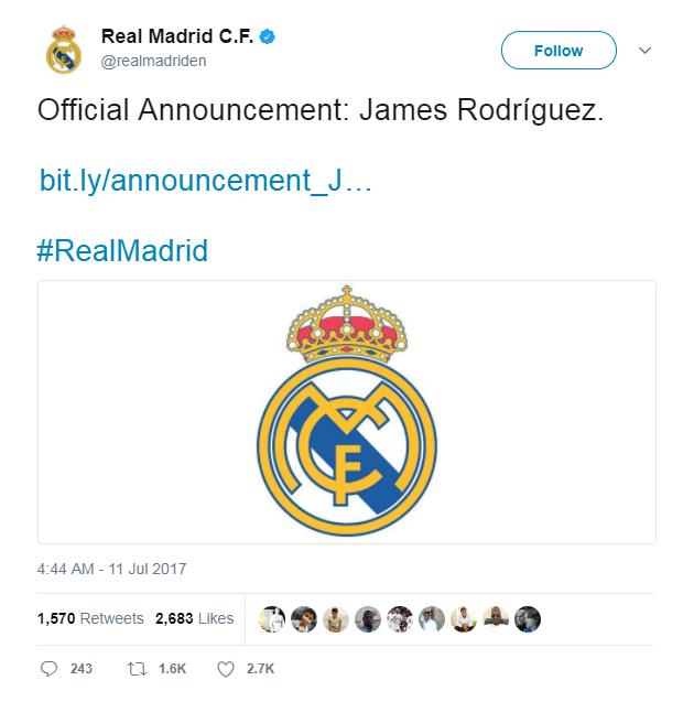 Resmi Tinggalkan Madrid, James Gabung Munchen