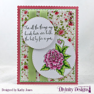 Divinity Designs Stamp Set: Grandmother's Heart, Paper Collection: Pretty Pink Peonies, Custom Dies: Scalloped Rectangles, Double Stitched Rectangles, Double Stitched Circles