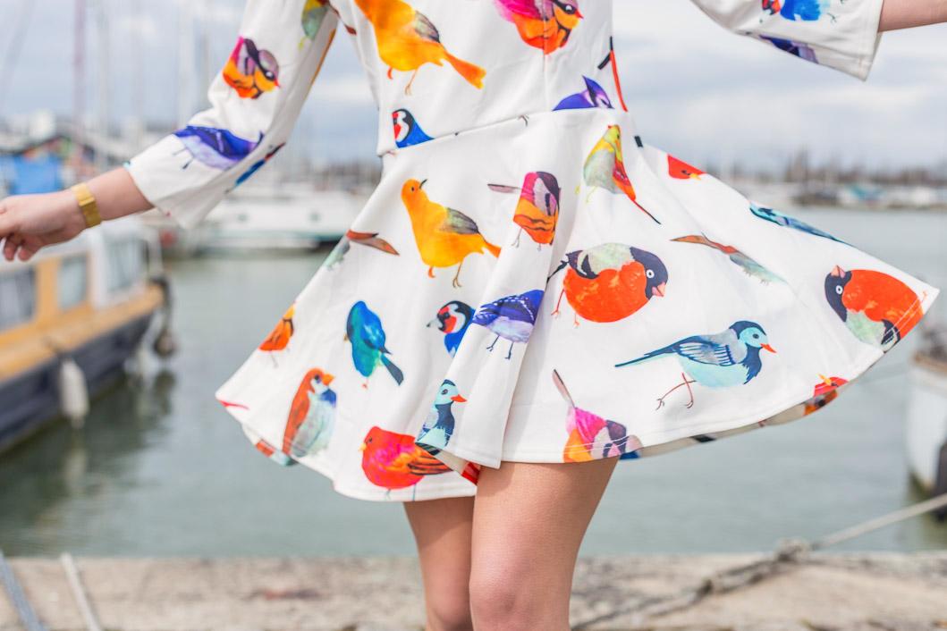 robe blanche motif oiseaux