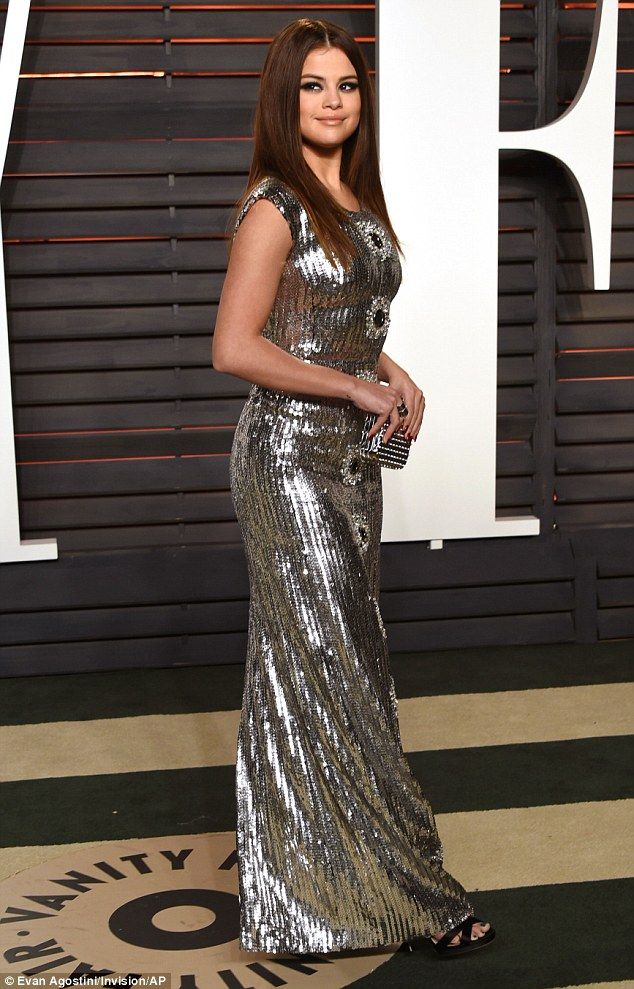 Selena Gomez glitters at the Vanity Fair Oscars Party