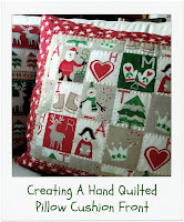 Creating A Hand Quilted Pillow Cushion Front by www.madebyChrissieD.com