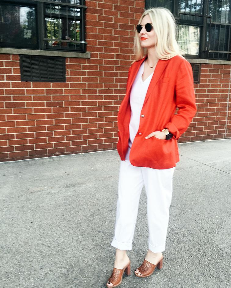 Heleneisfor birthday outfit, Meg Shop jumpsuit, J.Crew mules, vintage Ralph Lauren blazer, MAC Lady Danger matte lipstick Ray-Ban Lennon sunglasses