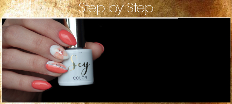 Cosmetics Zone | Sey | s001 Pure White | s128 Energetic Peach | Cosmetics Zone Gel Art 085 Silver Patina | floral watercolor nails | tutorial | watercolor | spring nails | step by step | zdobienie na hybrydzie | zdobienie krok po kroku |