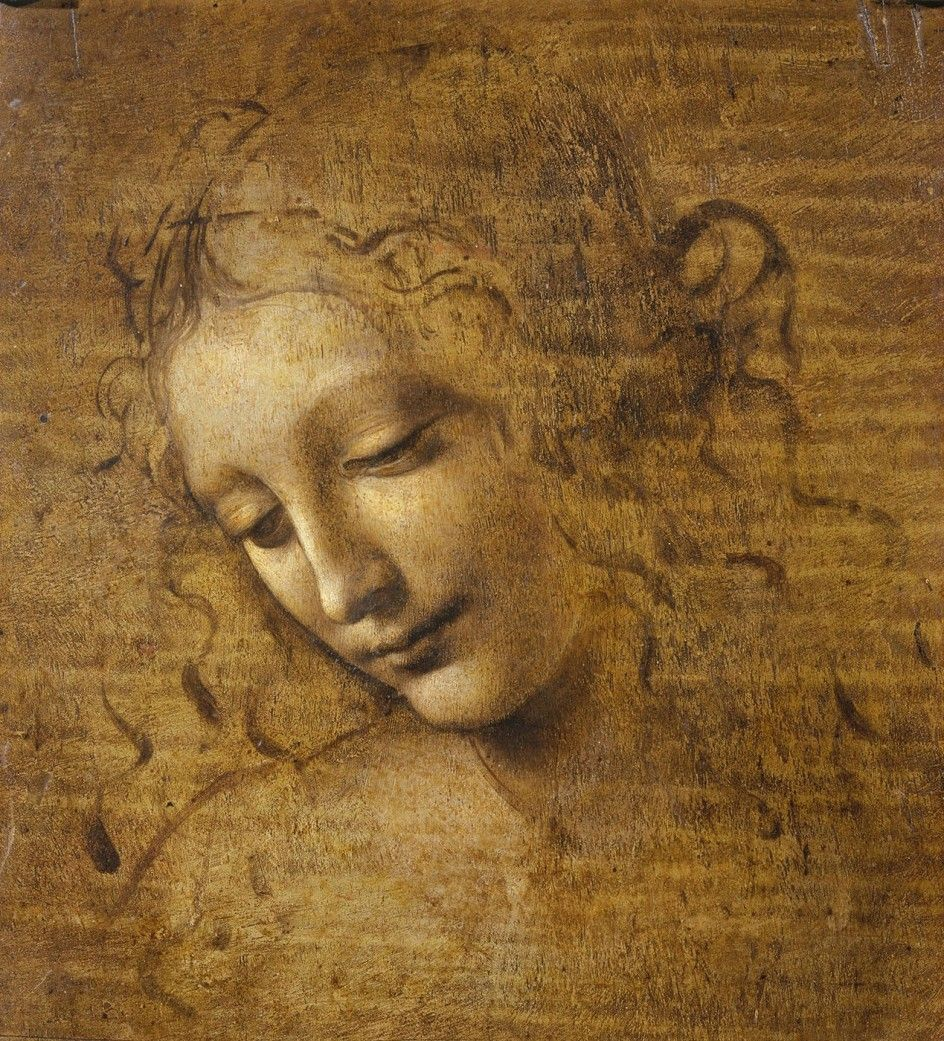 La despeinada. Leonardo Da Vinci. Hacia 1508, Tierra oscura, ámbar verdoso y albayalde sobre tabla, 24,7x21 cm. Parma, Galería Nacional, Palacio Pilota.