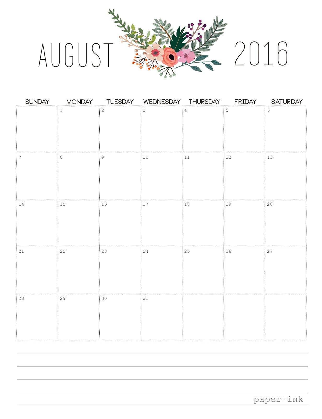 Free Printable : August 2016 Calendar