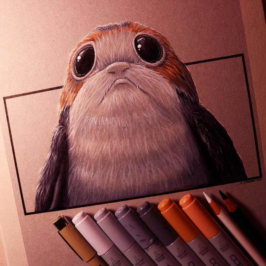 11-Porg-The-Last Jedi-C-Straver-Fantasy-Movie-Characters-Drawings-www-designstack-co