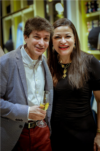 Thenny Mejia with a friend at Fall Winter Collection Launch by La Martina