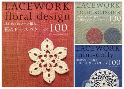 3 Revistas con rosetones de crochet