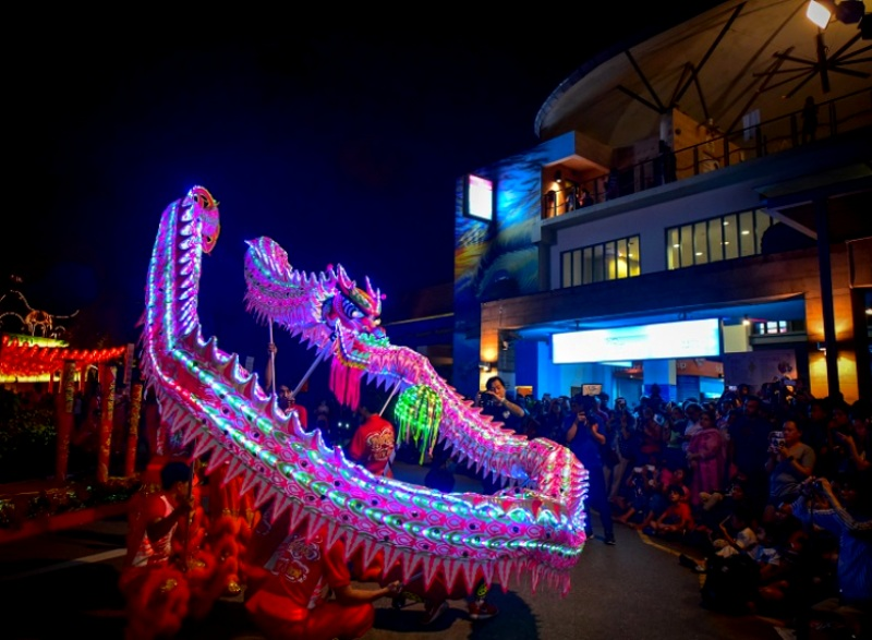 sentosa lunar new yea led dragon dance