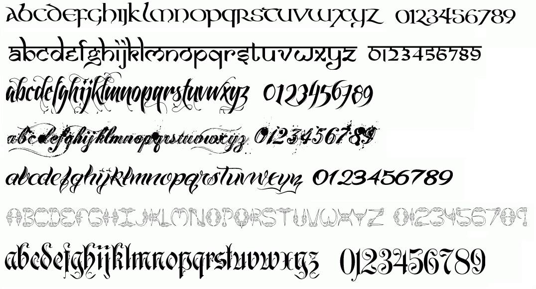 font teks angka dan huruf untuk desain tato tubuh kamu
