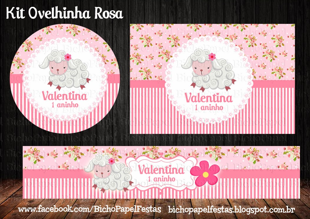 Kit Festa Ovelhinha Rosa provençal