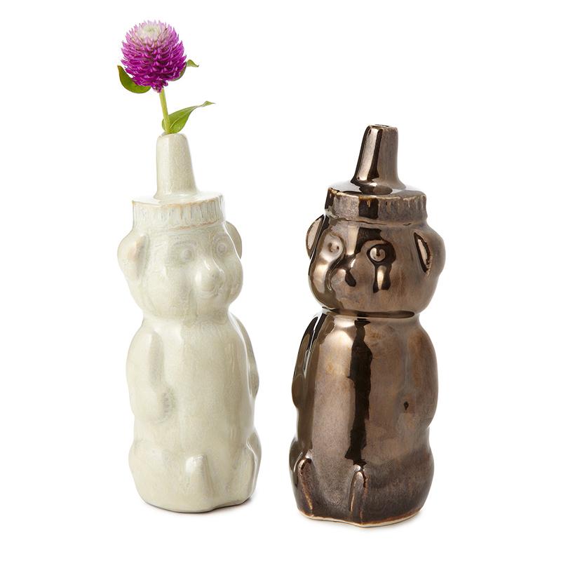 Cast Porcelain Honey Bear Vases by Lesley Anton