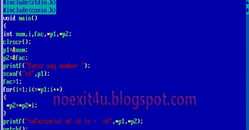 program to find factorial of a number