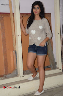 Actress Model Shamili (Varshini Sounderajan) Stills in Denim Shorts at Swachh Hyderabad Cricket Press Meet  0032.JPG