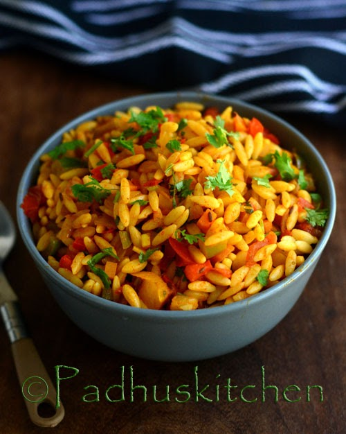 Orzo Tomato Pasta with Peppers-Indian style