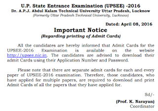 UPSEE Admit card Available notice