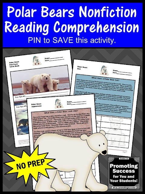 polar bears reading comprehension facts for kids worksheets printable