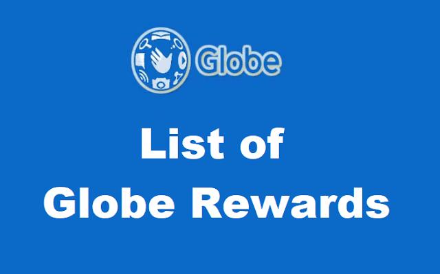 List of Globe Rewards for 2019