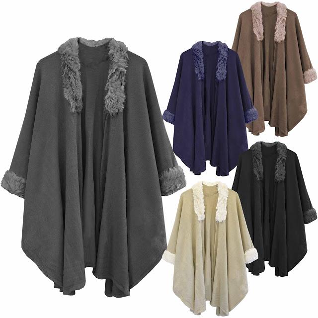 Ladies Black Cape Wool Fur Collar Blanket Coat Winter Jacket Wrap Poncho