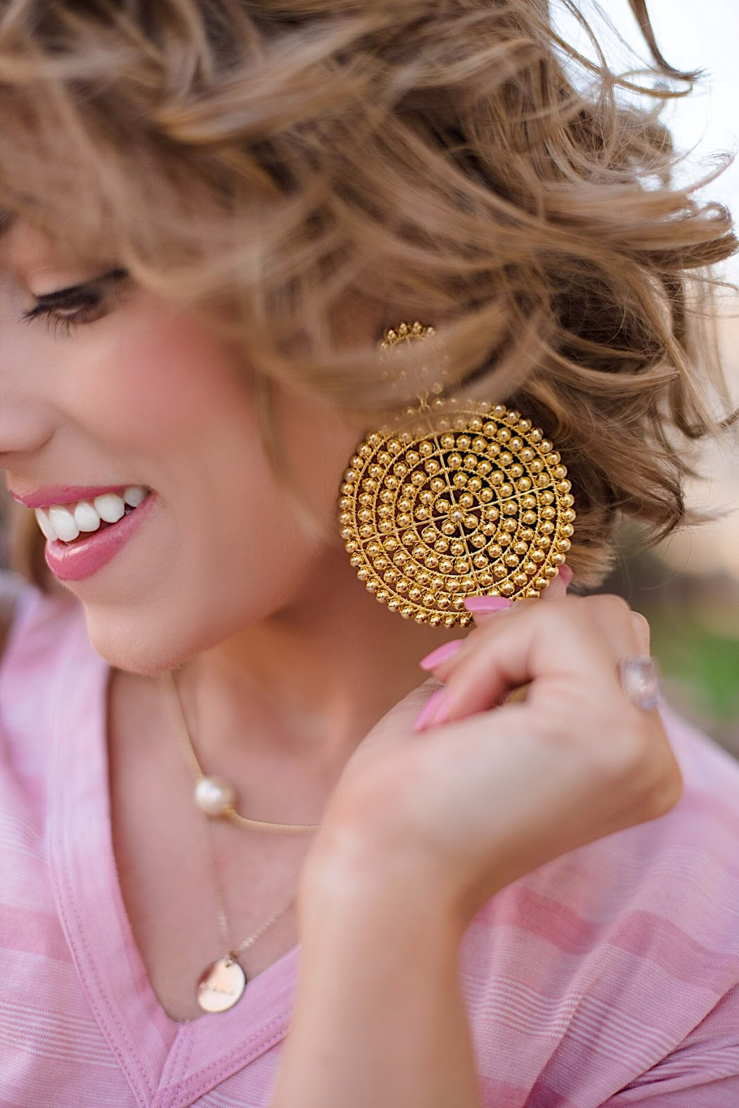 Lisi Lerch Gold Disk Earrings - Click through to see the full post + outfit details on Something Delightful Blog