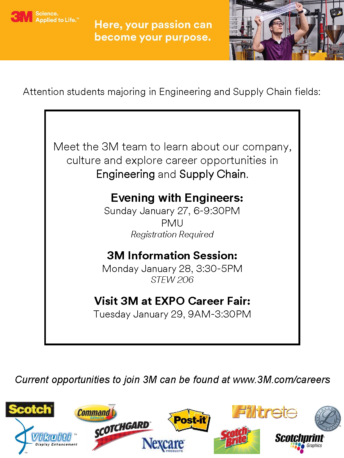 3M on campus 1/27-1/29 | Purdue IE Undergrad News and Notes