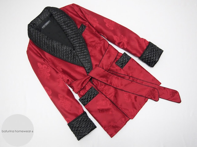 mens silk cigar smoking jacket smoker robe red black warm lined cotton quilted english vintage gentleman style dressing gown