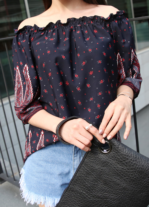 Frilled Mix Print Blouse