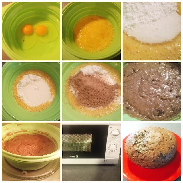 pastel de chocolate en el microondas paso a paso