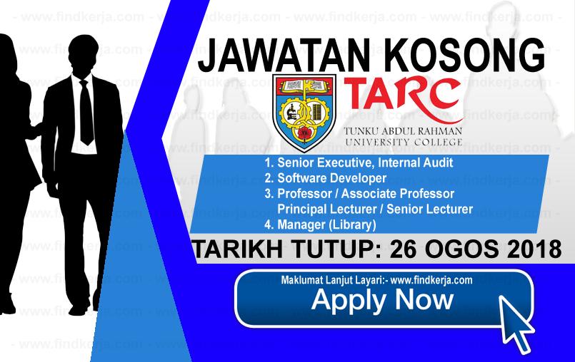 Jawatan Kerja Kosong TARUC - Tunku Abdul Rahman University College logo www.ohjob.info www.findkerja.com ogos 2018