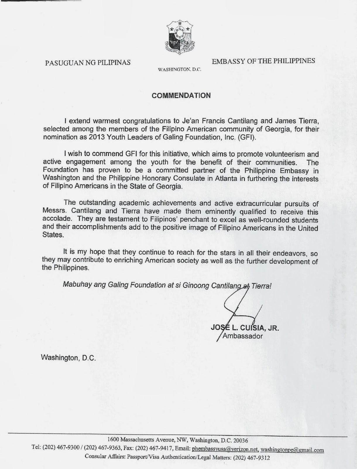 Galing Great News Letter of mendation by H E Jose L Cuisia