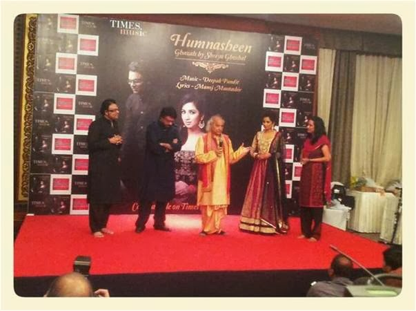 Pandit Jasraj with his words at music launch of Humnasheen! Shreya Ghoshal sharing stage!
