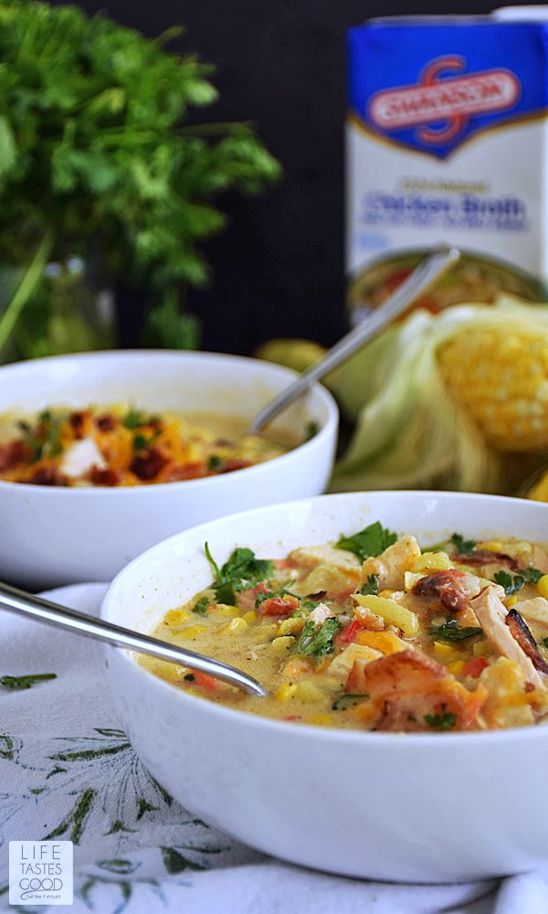 Fresh Corn & Chicken Chowder | by Life Tastes Good is perfect for summer! It is broth based with a little cream keeping it light and fresh.