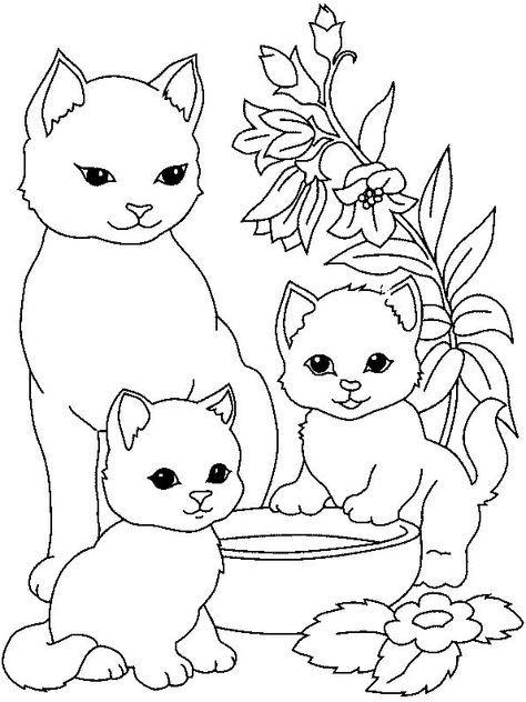 Tranh tô màu ba mẹ con mèo