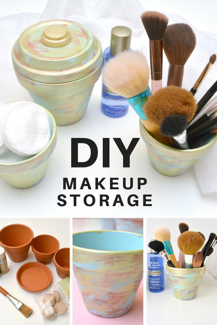 Life With 4 Boys: Gold Brushed Makeup Storage #DIY