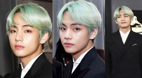 BTS V'nin Grammys'teki yeşil saçı konuşuldu