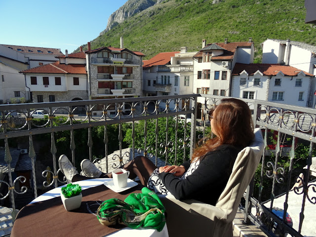Having Tea at the Balconyof our Hotel in Mostar