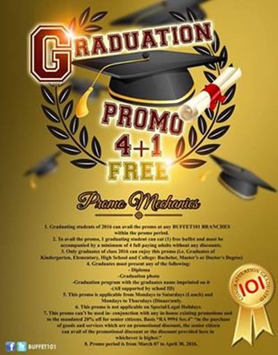 buffet-101 graduation free buffet promo 2016