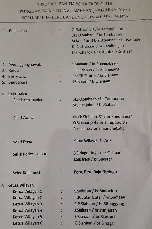 Susunan panita Pesta Partangiangan Bona Punguan Pomparar Taon Raja Sitolngo Siahaan (Raja Hinalang) Boru, Bere, Ibebere  Bandung - Cimahi sekitarnya tahun 2018