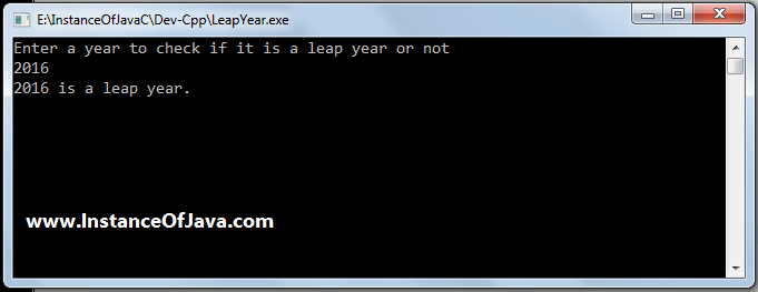 leap year in c program