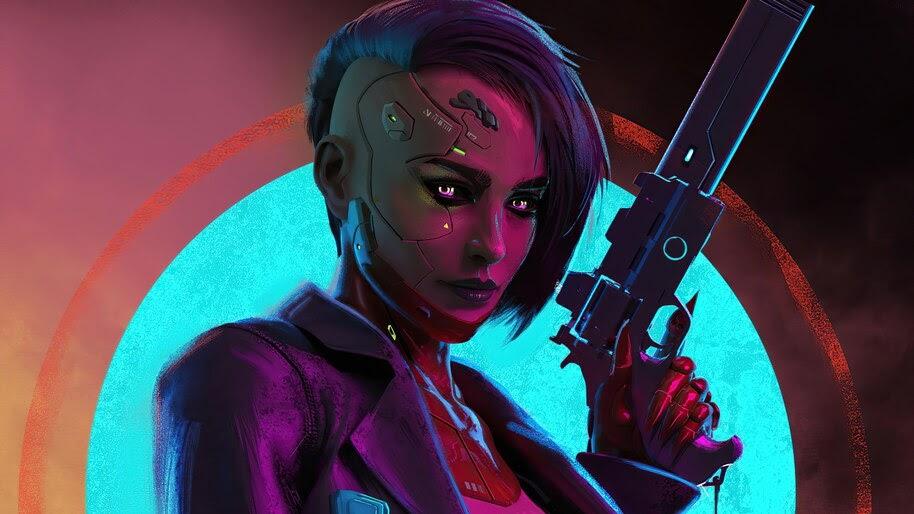 Cyberpunk, Girl, Pistol, Gun, Sci-Fi, 4K, #6.726