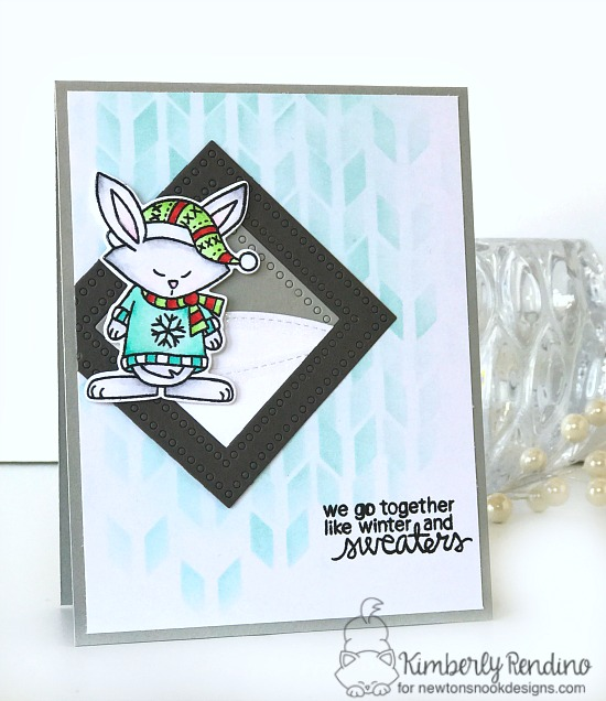 Bunny in Sweater Card by Kimberly Rendino | Sweater Weather Stamp Set by Newton's Nook Designs #newtonsnook